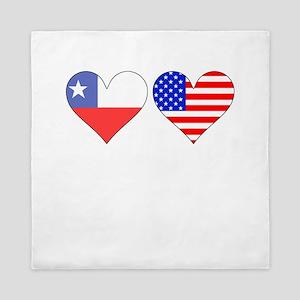 Chilean American Hearts Queen Duvet