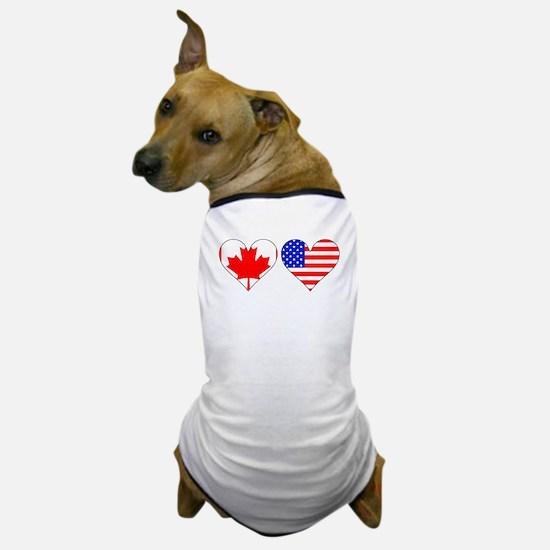 Canadian American Hearts Dog T-Shirt