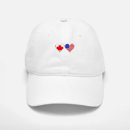 Canadian American Hearts Baseball Hat