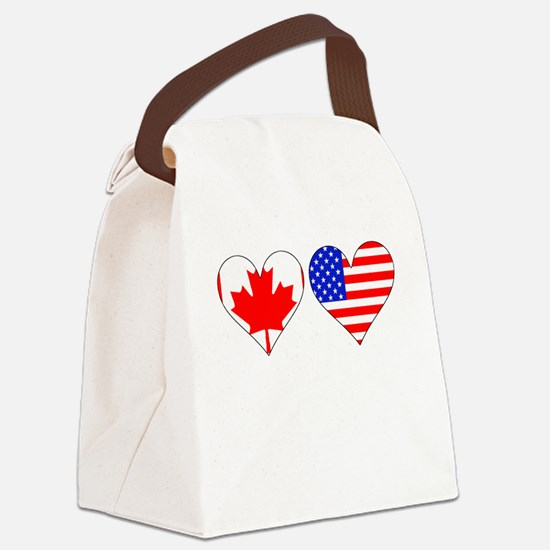 Canadian American Hearts Canvas Lunch Bag