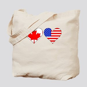 Canadian American Hearts Tote Bag