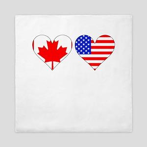 Canadian American Hearts Queen Duvet