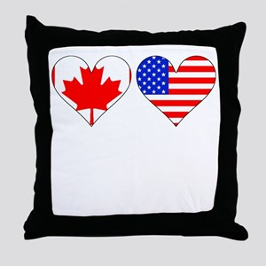 Canadian American Hearts Throw Pillow