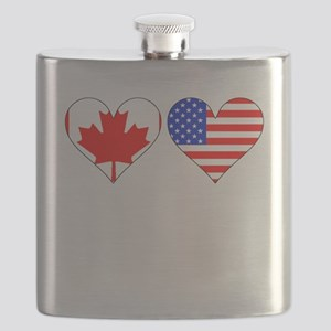 Canadian American Hearts Flask