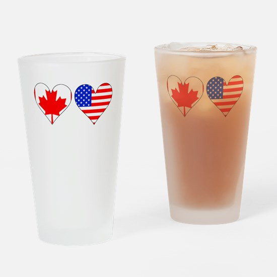 Canadian American Hearts Drinking Glass