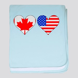 Canadian American Hearts baby blanket