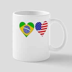 Brazilian American Hearts Mugs