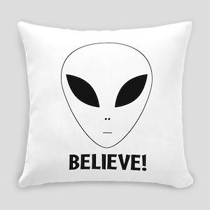 Believe Alien Head Everyday Pillow