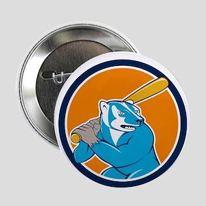 Badger Baseball Player Batting Circle Cartoon 2.25