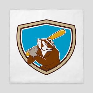 Badger Baseball Player Batting Shield Cartoon Quee