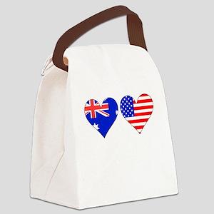 Australian American Hearts Canvas Lunch Bag