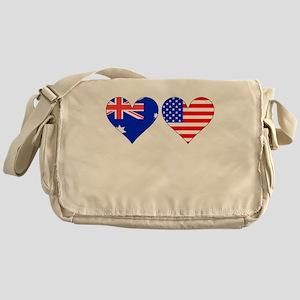 Australian American Hearts Messenger Bag