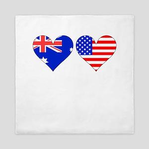 Australian American Hearts Queen Duvet