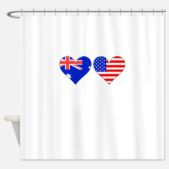 Australian American Hearts Shower Curtain