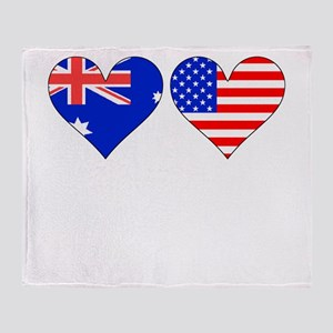 Australian American Hearts Throw Blanket