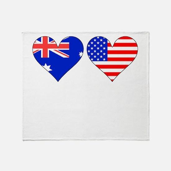 Australian American Hearts Throw Blanket