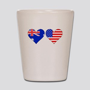Australian American Hearts Shot Glass