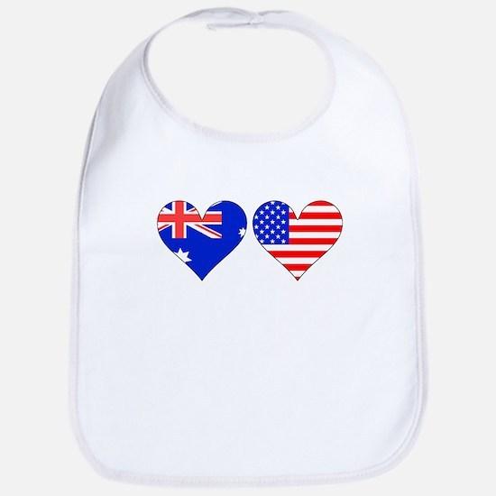 Australian American Hearts Bib