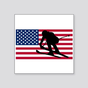 Ski Racer American Flag Sticker