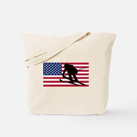 Ski Racer American Flag Tote Bag