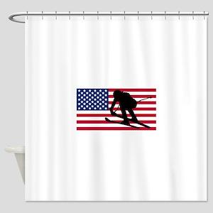 Ski Racer American Flag Shower Curtain
