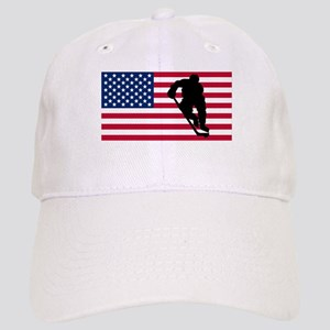 Hockey Player American Flag Baseball Cap