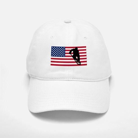 Hockey Player American Flag Baseball Baseball Baseball Cap