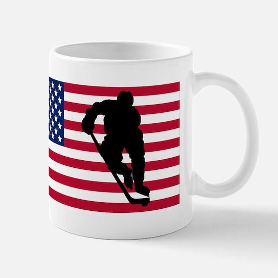 Hockey Player American Flag Mugs