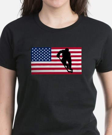 Hockey Player American Flag T-Shirt