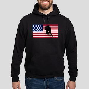 Hockey Player American Flag Hoodie