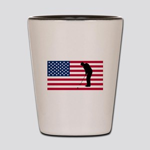 Golfer Putting American Flag Shot Glass