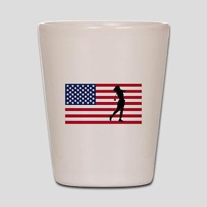 Woman Golfer American Flag Shot Glass