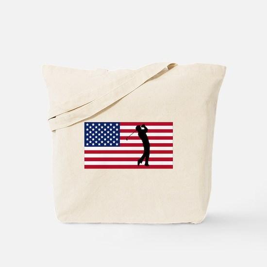 Golfer American Flag Tote Bag