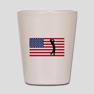 Golfer American Flag Shot Glass