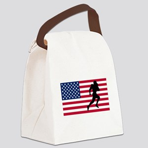 Running Back American Flag Canvas Lunch Bag