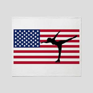 Figure Skater American Flag Throw Blanket