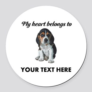 Personalized Beagle Custom Round Car Magnet