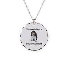 Personalized Beagle Custom Necklace Circle Charm