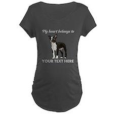 Personalized Boston Terrier Maternity Dark T-Shirt