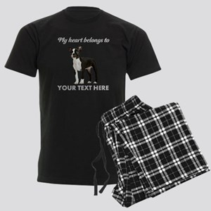 Personalized Boston Terrier Men's Dark Pajamas