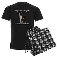 Personalized Boston Terrier Men's Dark Pajamas