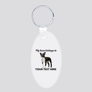 Personalized Boston Terrier Aluminum Oval Keychain