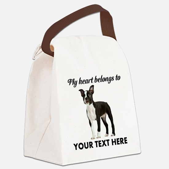 Personalized Boston Terrier Canvas Lunch Bag