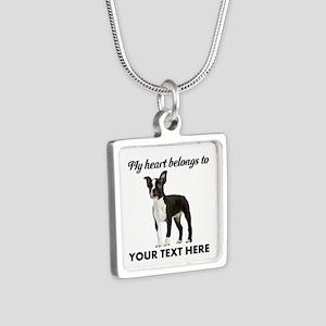 Personalized Boston Terrie Silver Square Necklace