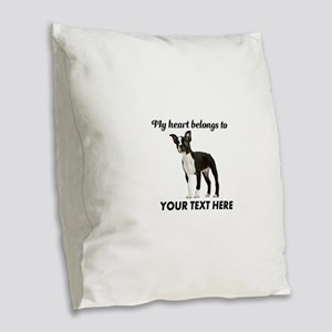Personalized Boston Terrier Burlap Throw Pillow