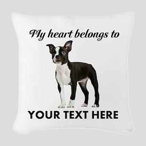 Personalized Boston Terrier Woven Throw Pillow