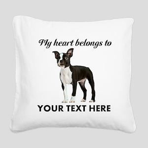 Personalized Boston Terrier Square Canvas Pillow