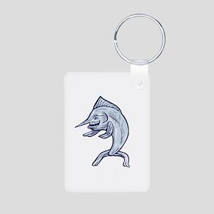 Blue Marlin Fish Isolated Cartoon Keychains