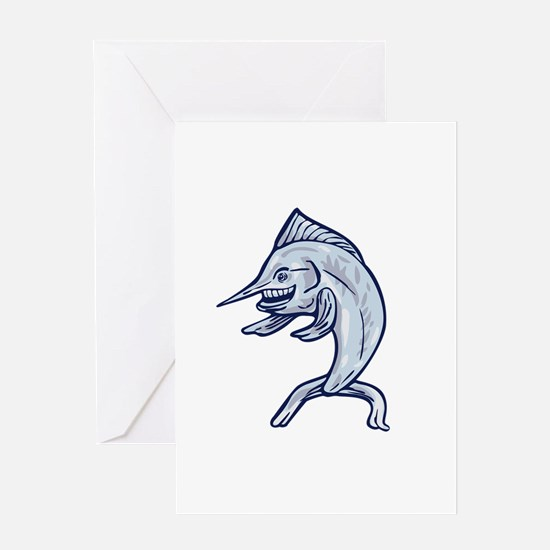 Blue Marlin Fish Isolated Cartoon Greeting Cards