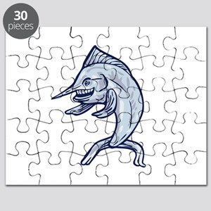 Blue Marlin Fish Isolated Cartoon Puzzle